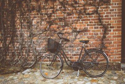 Fotomural Vintage, bicicleta, inclinar-se, parede