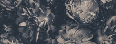 Fotomural Vintage bouquet of peonies. Floristic decoration. Floral background. Black and white baroque old fashiones style image. Natural flowers pattern wallpaper or greeting card