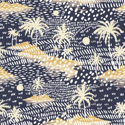 Fotomural Vintage seamless island pattern. Colorful summer tropical background. Yellow landscape with palm trees, beach and ocean. Flat design, vector. Good for textile, fabric, t-shirt, wallpaper, wrapping.
