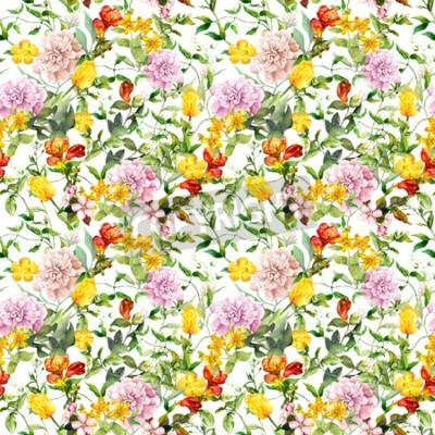 Fotomural Vintage summer flowers, leaves, herbs. Repeating floral background. Watercolor