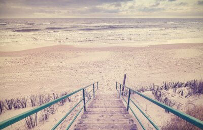 Fotomural Vintage, toned, madeira, escadas, praia
