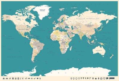 Fotomural Vintage World Map and Markers - ilustração