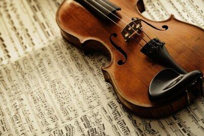 Fotomural Violino velho e raro em uma folha nota