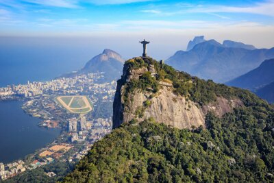 Fotomural Vista aérea de Cristo Redentor e cidade do Rio de Janeiro