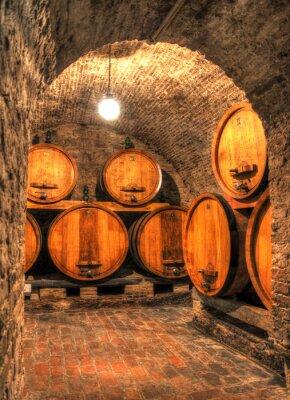 Fotomural Vista, antigas, vinho, adega, grande, barris, através, arco