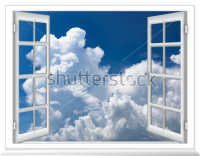 Fotomural vista da janela aberta do céu com nuvens do nascer do sol