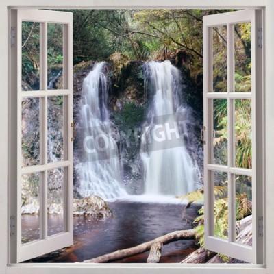 Fotomural Vista de janela aberta para Hogarth Falls - uma cachoeira pouco agradável aninhado no Parque Popular s na cidade costeira pitoresca de Strahan, Tasmânia, Austrália