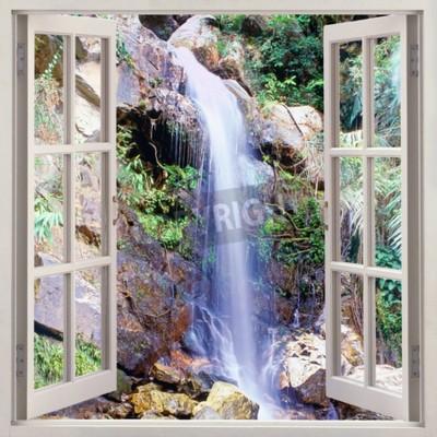 Fotomural Vista de janela aberta para pequena cascata de água