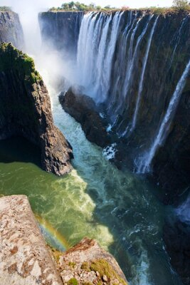 Fotomural Vista de Victoria Falls da terra. Mosi-oa-Tunya Parque nacional. E Património Mundial. Zambiya. Zimbábue. Uma excelente ilustração.
