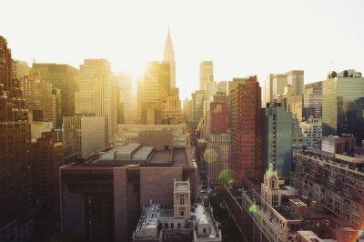 Fotomural Vista do horizonte de Nova York Manhattan no sol.