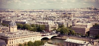 Fotomural Vista em Paris forma a catedral de Notre Dame. Imagem filtrada estilo Instagram