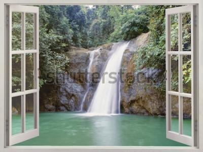 Fotomural Vista janela aberta, para, cachoeira tropical, perto, cidade, de, cachoeiras, iligan, mindanao, filipinas