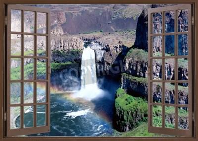 Fotomural Vista, janela, cachoeira