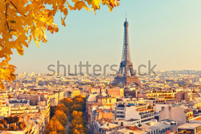 Fotomural Vista, ligado, torre eiffel, em, pôr do sol, paris, frança