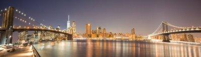 Fotomural Vista Panorâmica Ponte de Manhattan, Ponte de Brooklyn e skyline de Manhattan na noite