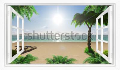 Fotomural Vista para a praia tropical do mar da janela