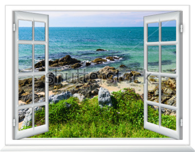 Fotomural vista para o mar da janela na ilha do dia de verão ensolarado