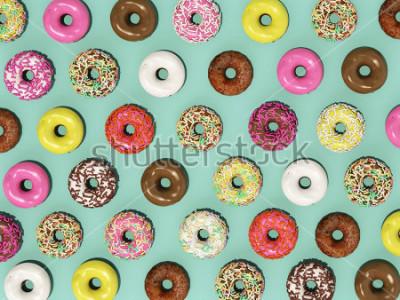 Fotomural Vista superior conjunto padrão de Donuts coloridos sobre fundo verde, renderização 3d Donuts