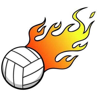 Fotomural Voleibol com chamas
