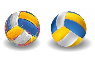 Fotomural Voleibol isolado no fundo branco. Todos os elementos são agrupados em camadas e separadas.