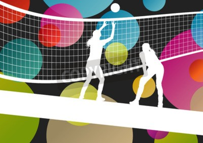 Fotomural Voleibol, jogador, silhuetas, desporto, abstratos, vetorial, fundo, Ilustração