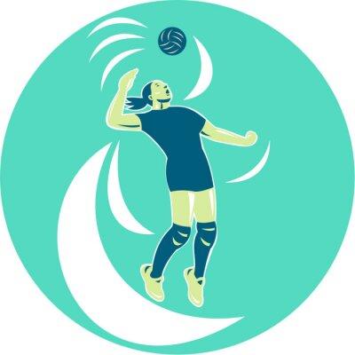 Fotomural Voleibol, jogador, spiking, alto, círculo, retro