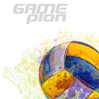 Fotomural Voleibol Todos os elementos estão em camadas separadas e agrupadas.