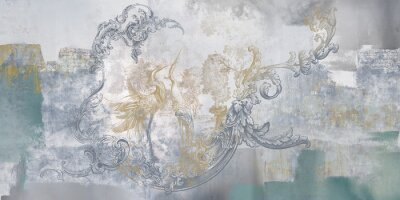 Fotomural Wall mural, wallpaper, in the style of classic, baroque, modern, rococo. Wall mural with birds and concrete grunge background. Light, delicate photo wallpaper design.