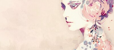 Fotomural Watercolor abstract portrait of girl. Fashion background.