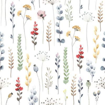 Fotomural Watercolor floral seamless pattern with colorful wildflowers, leaves and plants. Illustration on white background in vintage style.