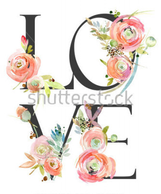 Fotomural watercolor flower background. love