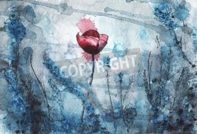 Fotomural watercolor illustration. red poppy flower