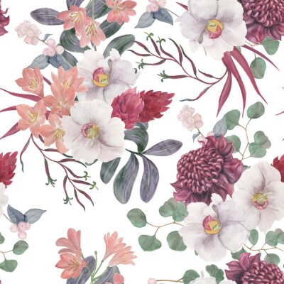 Fotomural Watercolor painting seamless pattern with exotic flower and tropical leaves