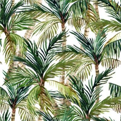 Fotomural Watercolor, palma, árvore, seamless, Padrão