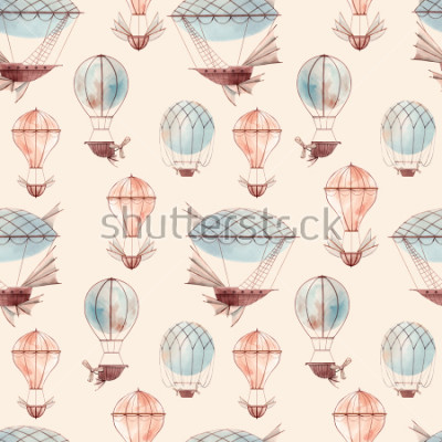 Fotomural Watercolor pattern retro balloon, flying ship, baby wallpaper. retro wallpaper