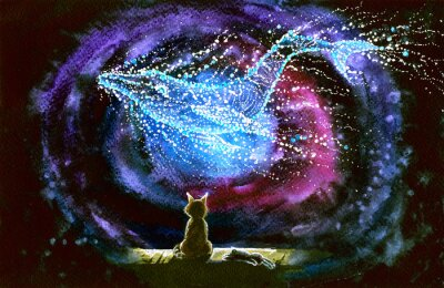 Fotomural Watercolor picture of a cat and whale constellation