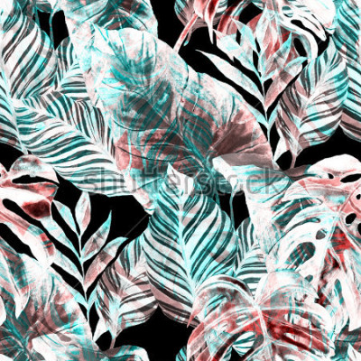 Fotomural Watercolor seamless pattern with tropical leaves: palms, monstera, passion fruit. Beautiful allover print with hand drawn exotic plants. Swimwear botanical design.