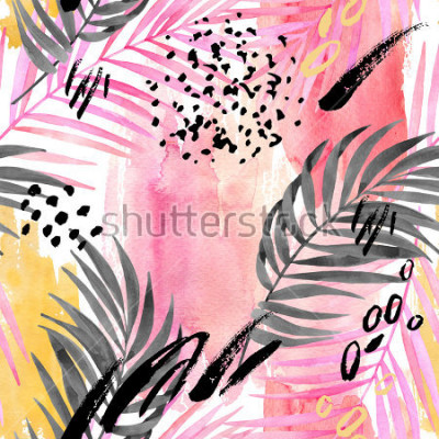 Fotomural Watercolor tropical leaves seamless pattern. Watercolour pink colored and graphic palm leaf painting with minimal elements on color stains background. Hand painted art illustration for summer design.