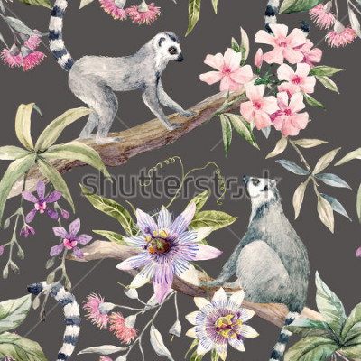 Fotomural Watercolor tropical pattern with lemurs, passionflower, eucalyptus, Pink oleander, orchid and palm leaves
