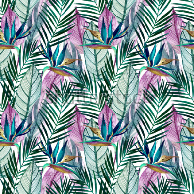 Fotomural Watercolor tropical seamless pattern with bird-of-paradise flower, palm leaves. Exotic flowers, leaves on light background. Hand painted natural illustration