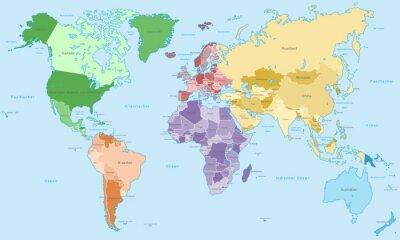 Fotomural Weltkarte - einzelne Kontinente em Farbe (Mais informações)
