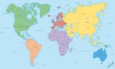 Fotomural Weltkarte - Kontinente em Farbe (Mais informações)