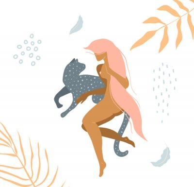 Fotomural Wild cat and naked woman laying down in nature apparel print design.