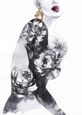 Fotomural woman with flowers. beauty background. fashion illustration. watercolor painting
