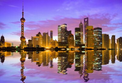 Fotomural Xangai horizonte ao amanhecer