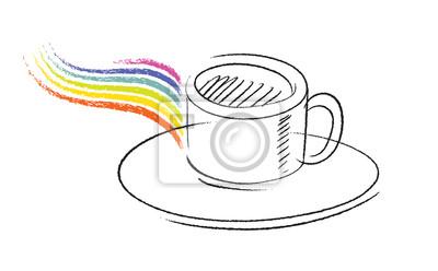 xícara de café ícone desenho à mão livre simples vetor fotomural