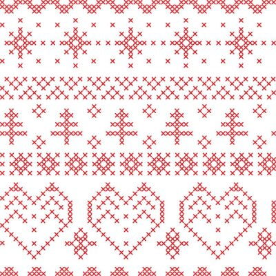 Fotomural Xmas seamless pattern inspirado por padrões cruz nórdica