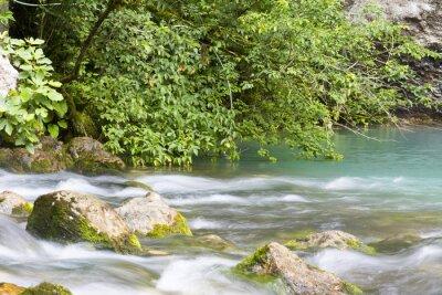 Fotomural Река находится в горах Абхазии и впадает в голубое озеро.