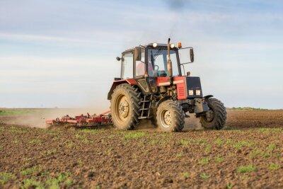 Fotomural Agricultor cultivando terras aráveis antes da semeadura