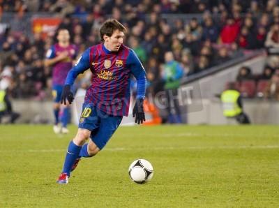 Fotomural BARCELONA - Lionel Messi na ação durante a harmonia espanhola do copo entre FC Barcelona e Valencia CF, contagem final 2-0, no Estádio Camp Nou, Barcelona, Espanha